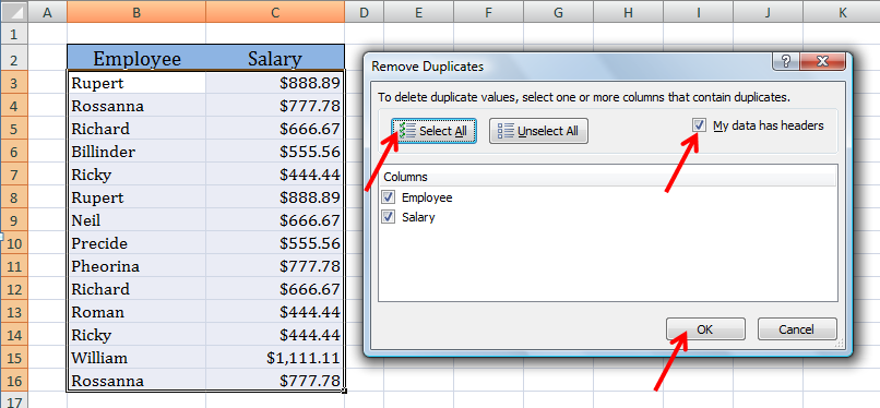 excel remove duplicates