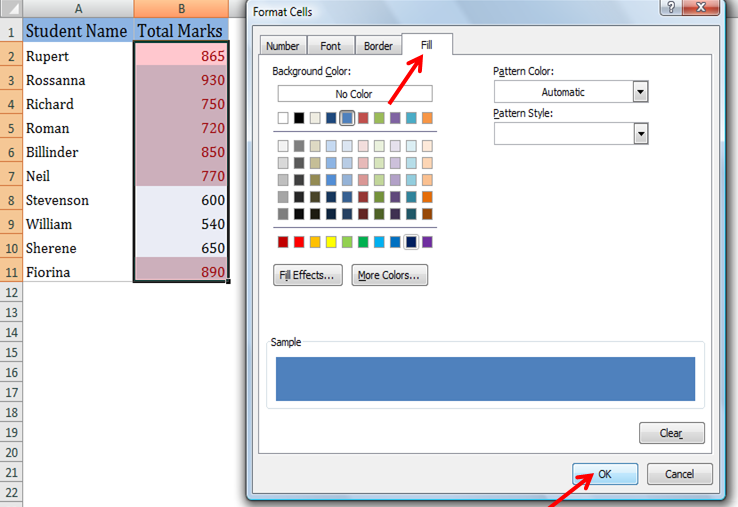 how to add background format in cells