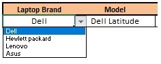 Creating single drop down list