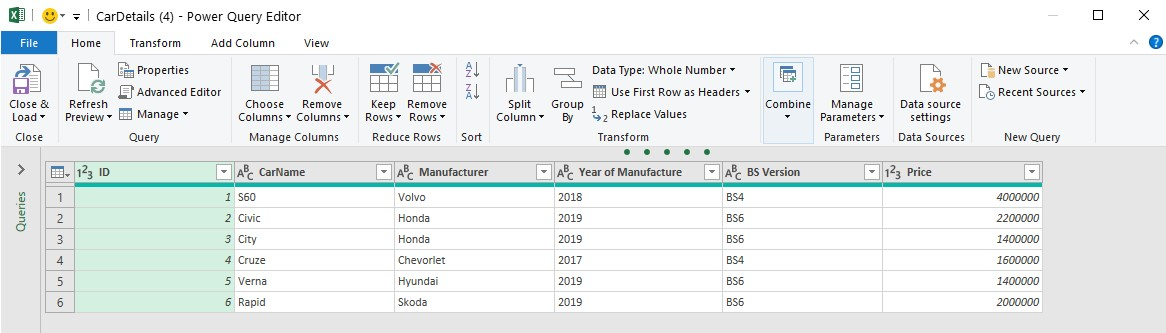 Editing Power Database table in Power query editor