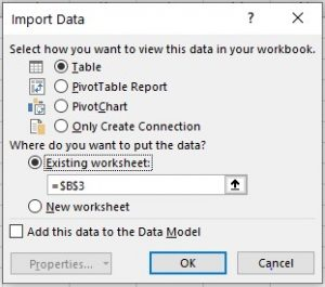 Selecting the excel range to load table data