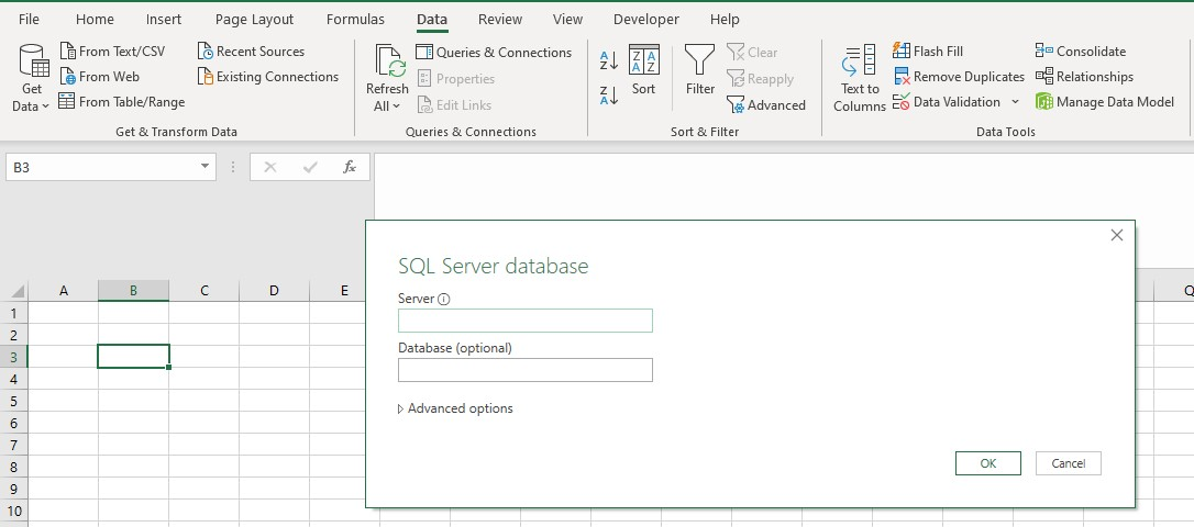 Connecting to SQL server database from excel